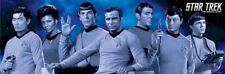 STAR TREK ~ TOS BLUE CAST SLIM 12x36 POSTER TV Original Series Spock Kirk McCoy