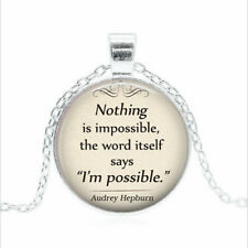 Nothing is Impossible Tibet silver Glass dome Necklace chain Pendant Wholesale