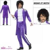Mens 80's 1980s Purple Musician Prince Adult Fancy Dress Costume Wig Tash M/L/XL