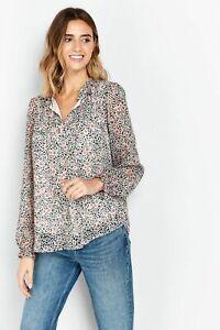 Wallis Womens TALL Multi Coloured Animal Print Tie Neck Top Shirt Blouse
