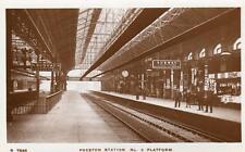 Preston Railway Station NMo 9 Platform unused RP old pc 1924 WHS Kingsway