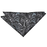Black Silver Hanky Handkerchief Woven Floral Cypress Paisley Accessory by DQT