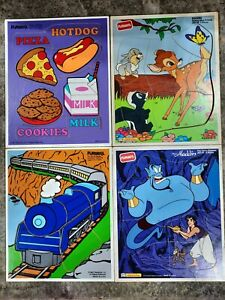 Playskool Vintage 1980's Wood Puzzles Lot of 4 Wooden Picture Puzzles