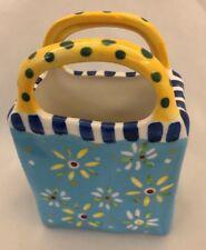 "Ganz 3X4.5"" Floral Vase with Ye 00004000 llow Handles"