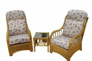 Sorrento Cane Conservatory Furniture Duo Set- 2 Chairs and a Side Table-'Rose'
