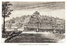 Antique print middle Java Indonesia Borobudur temple 1880 Barabudhur