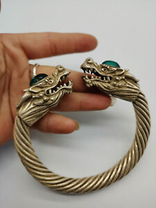 China  Old Tibet Silver Carved Dragon Bracelet inlaid with green jade Bracelets