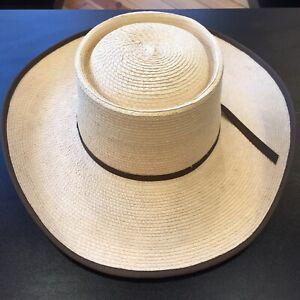 Sunbody Hat - Wide Brim Straw Gambler - thin band