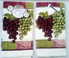 "2 SAME PRINTED KITCHEN TOWELS (15"" x 25"") GRAPES by BH"