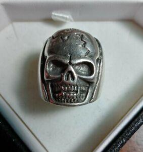 Huge Vintage Mens Biker Skull Ring Sterling Silver 925 Size 10-10.5 Heavy 29 grm