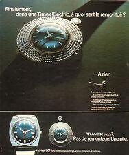 Publicité Advertising 1973 Montre Timex Electric Pas de remontage Une pile .