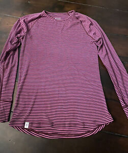 Women's IBEX 100% Wool Striped Long Sleeve Shirt Size XL