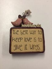 Love Lovebirds Flower Figurine Gift Country Home Decor Blossom Bucket NEW