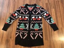 Women Allison Brittany Ugly Christmas Tree Snow Sweater XL Cardigan Holiday D1