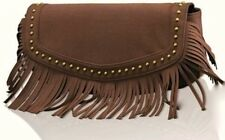 BRAND NEW GHD BAG BOHO CLUTCH HANDBAG TASSLE BAG STUDDED  BROWN FAUX SUEDE