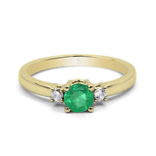 Emerald Engagement Yellow Gold 18 Carat Fine Rings