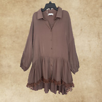 Women Babydoll Boho Peasant Brown Laced EMBROIDERED Top Tunic Blouse 1XL 2XL