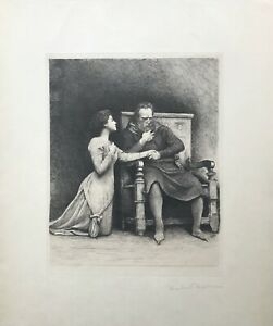 John the Smith & His Daughter by Hubert Herkomer from 'An Idyl' · Etching · 1889