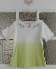 T-Shirt, Weiß, Grün, Mädchen, Gr. 122/128, Kurzarm