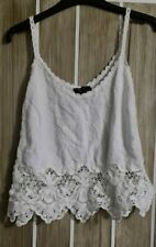 New Look White Crochet Strap Top Size S Petite - Vest Summer Cami