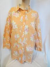 Jones New York Signature Lt Orange Floral 100% Cotton Blouse 3/4 sleeve Size XL