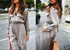 Zara Studio Grey linen ZIP Front Jumpsuit lino cargo overall size s 2617/735