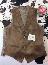 NWT Western Paisley Button Front Brown Dress Vest Size 38 Regular
