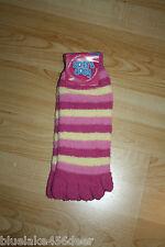 Fuzzy Striped Toe Socks  Dark Pink w Yellow  Above Ankle  Sleep / Play  Teens