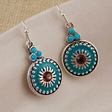 earrings Silver Small Round Enamel Turquoise Green Vintage Class FF2