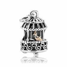 Pandora Golden Nightingale Bird Cage Two Tone Gold Silver Charm 791114