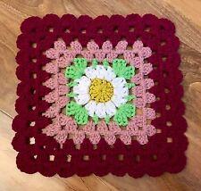 "HandMade Crochet COMFORTER Baby Blanket Security Blankie Aran DAISY 30cm/12"""