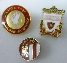 LIVERPOOL FOOTBALL Enamel Pin Badges x 3 YOU'LL NEVER WALK ALONE & SHREWSBURY SC