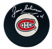 Jean Beliveau Signed Montreal Canadiens Logo Hockey Puck - SCHWARTZ COA
