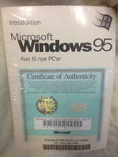 "Danish Microsoft Windows 95 Full Operating System 3.5"" Diskettes and Manual New"