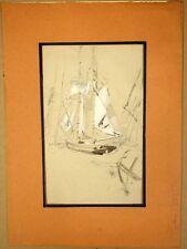 LEPERE Auguste (1849-1918) Attribué à. Dessin Etude Voiliers Bateaux Recto-Verso