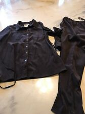 Motherhood Maternity Brown Outfit Pants Shirt Button Down Blouse Medium