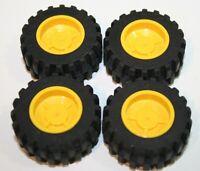 Lot 4 Lego Part 30285 Yellow Rim Tyre Wheel 30.4mm x 14mm Cars Trucks Vehicles