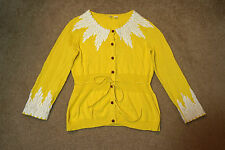 Moth wisteria cardigan sweater yellow white embroidered Anthropologie small s