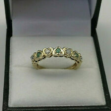 9ct Gold Hallmarked Emerald & Cubic Heart Eternity Ring.  Goldmine Jewellers.