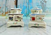 Vintage Wood Cook Stove Ceramic Salt And Pepper Shakers Japan