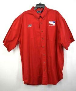 Rivers End Men Red Reebok Indy Racing League Button-Down Cotton Uniform Shirt XL
