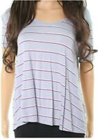 PINK ROSE Pink Striped Scoop Neck Cutout Women's Large Knit Top Blue L