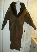 Karin Morgan Vintage Choco- Brown/Gold Leather Trench Coat w/ Fox Fur Trim; Sz S