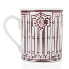 Hermes H Deco Mugs White with Rouge Porcelain Set of 4 new