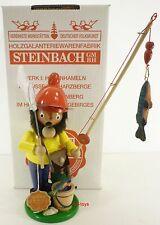 "STEINBACH GERMAN WOODEN NUTCRACKER CHUBBY SMOKER ""FISHERMAN""  S781 NEW"