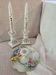 VINTAGE  floral candle stick holders japan Capodimonte 5 set groupings for home