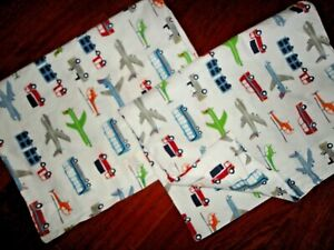 POTTERY BARN KIDS BRODY ORGANIC AIRPLANES TRUCK (2) STANDARD PILLOWCASES 19X28