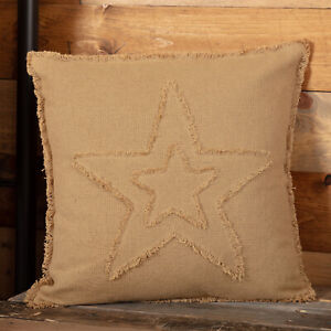 """VHC Brands Farmhouse 18""""x18"""" Pillow Tan Independence Day Appliqued Bedroom Decor"""