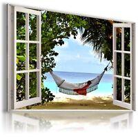 HAMMOCK BEACH SEA SUMMER 3D Window View Canvas Wall Art W37 UNFRAMED-ROLLED