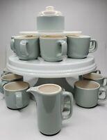Sugar Bowl, Creamer, & Set of 12 Mugs / Noritake Keltcraft Misty Isle Gray Blue